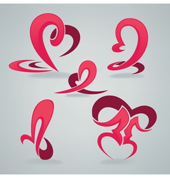 hearts and kiss vector image vector image