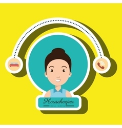 Housekeeper woman service icon vector