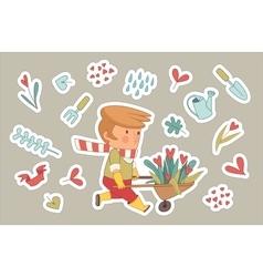Love gardener stickers set dodo people collection vector