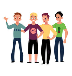 Male friendship concept of boys men friends vector