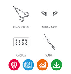 Medical mask capsules and scalpel icons vector