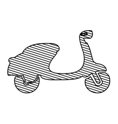 Monochrome silhouette of scooter to striped vector