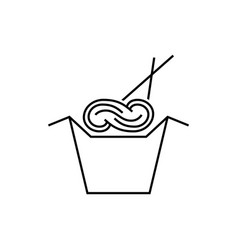 Noodles in box with chopsticks vector