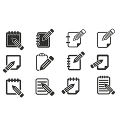 Notepad icon set vector image vector image