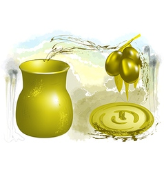 Olive and oil vector