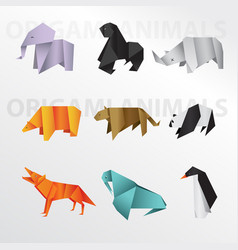 origami animals pack vector image vector image