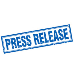 Press release blue grunge square stamp on white vector
