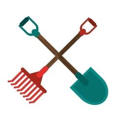 Rake and shovel tool of farm design vector