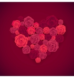 Rose heart isolated on red background happy vector