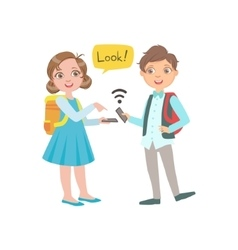 Schoolkids Boy And Girl Chatting And Exchanging vector image