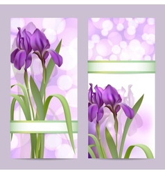 Set of spring banners with Purple Iris Flowers vector image vector image