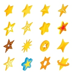 Star icons set isometric 3d style vector image vector image