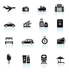 Travel icons black on white vector image