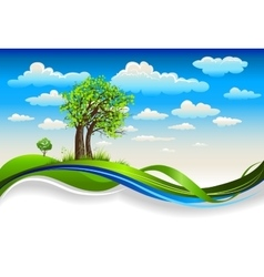 Under the bright spring sky vector image