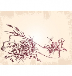 vintage banner with roses vector image vector image