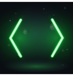 Vintage neon electro direction two green neon vector image