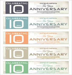 10 years Anniversary retro banner set vector image