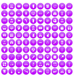 100 business day icons set purple vector