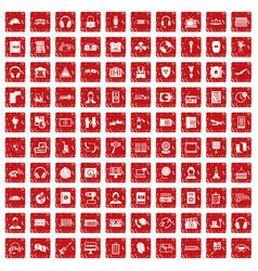100 headphones icons set grunge red vector