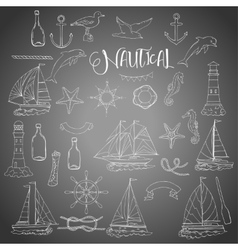 Nautical set with ships vector image