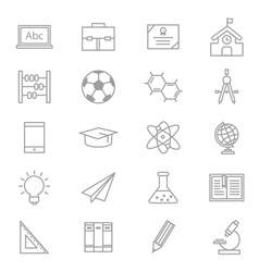 Education school and science icons line set of vector