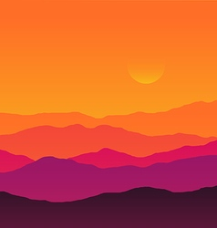 Abstract background sunset silhouette mountain vector