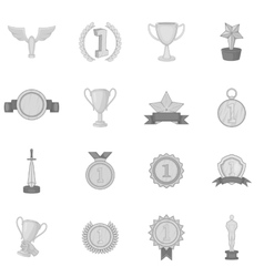 Trophy award icons set black monochrome style vector