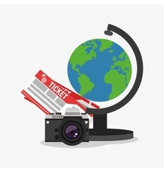 Planet camera and tickets design vector