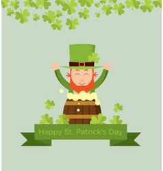 Cute cartoon leprechaun on beer keg vector