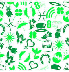 March month theme set of simple icons seamless vector