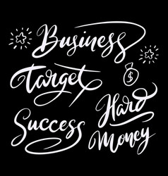 Business and money hand written typography vector