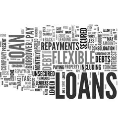 Flexible loans text background word cloud concept vector
