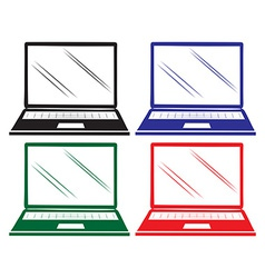 Four colourful laptops vector