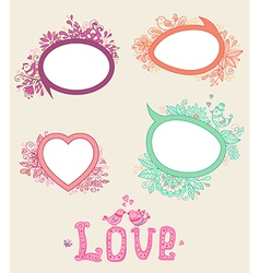 Set of floral doodle banners vector