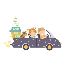 Couple traveling by car vector