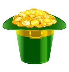 Patrick hat full of gold coins patrick green hat vector