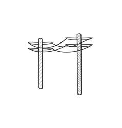 High voltage power lines sketch icon vector