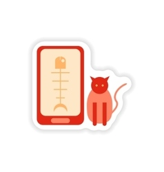 Paper sticker on white background mobile phone cat vector