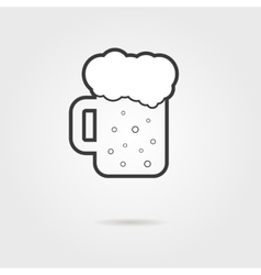 black outline glass of beer with shadow vector image