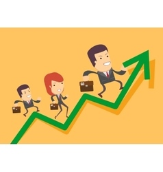 Business people run up on the graph vector image vector image