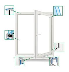 classic plastic window plastic white vector image vector image