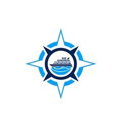 compass star boat ocean logo vector image vector image