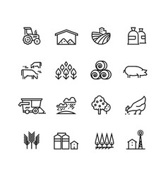 farm harvest linear icons agronomy and vector image