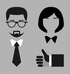 Flat set businessman and businesswoman blac vector