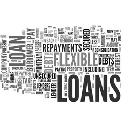 Flexible loans text background word cloud concept vector