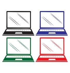 Four colourful laptops vector
