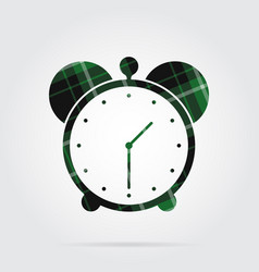Green black tartan isolated icon - alarm clock vector