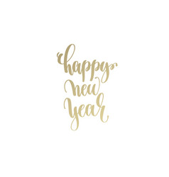 happy new year golden hand lettering winter vector image