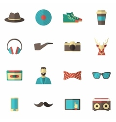 Hipster icon flat set vector