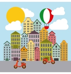 Hot air balloon and city italy culture design vector